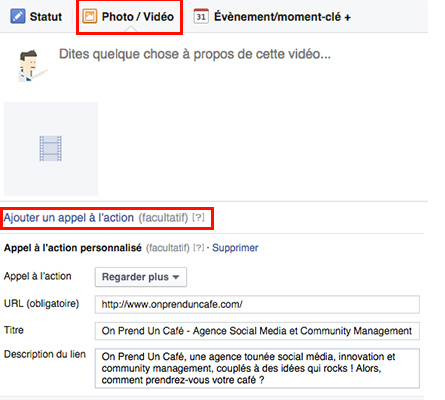 Call to action vidéo facebook