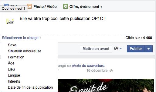 Nouveautés Publication Facebook